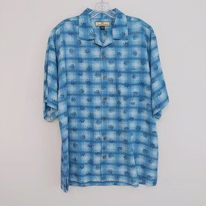 Tommy Bahama Mens Size M 100% Silk Blue Pineapple